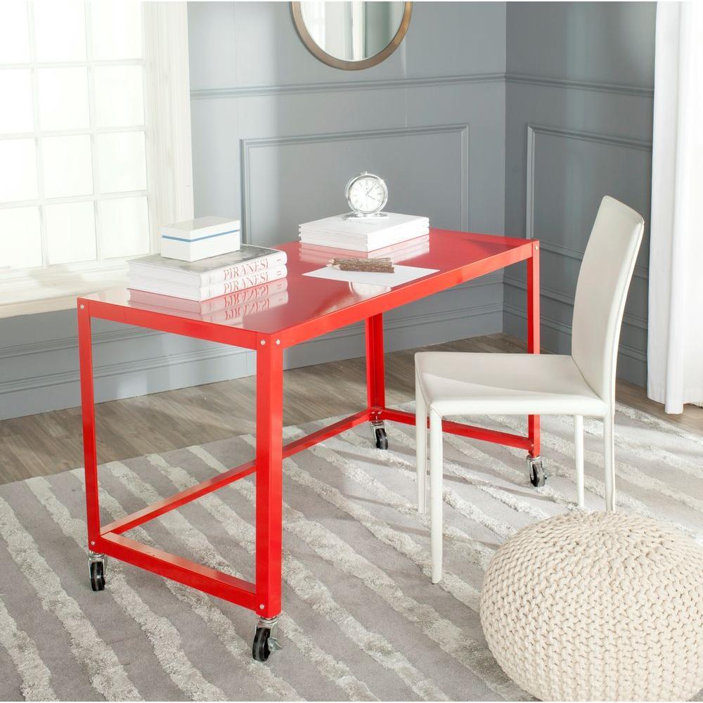 Bentley Red Desk with Wheels