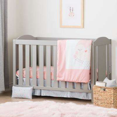 Angel Soft Gray and Pink Crib with Toddler Rail and Doudou the Rabbit 4-Piece Bed Set