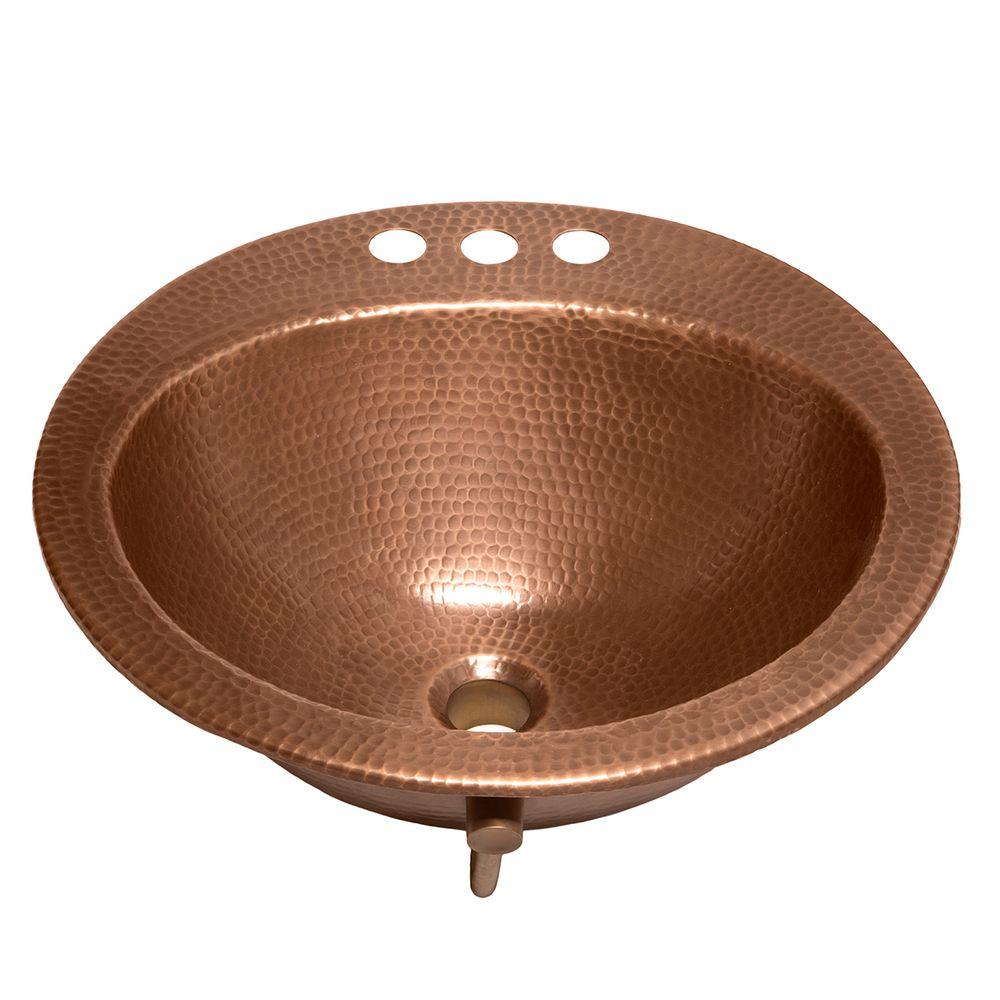 SINKOLOGY Bell Drop-In Handmade Copper Bathroom Sink with 4 in. Faucet Holes and Overflow in Antique Copper