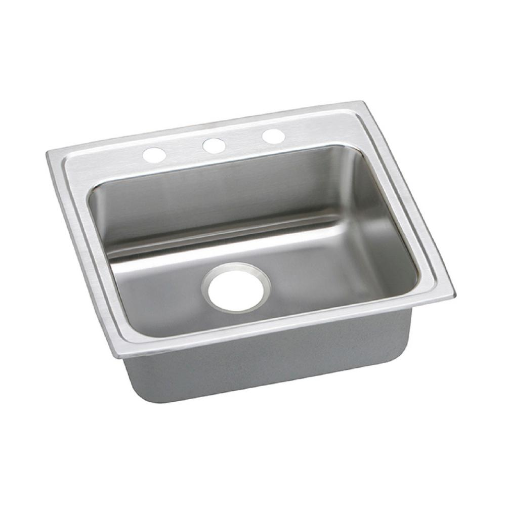 Elkay Lustertone Drop-In Stainless Steel 25 in. 3-Hole Single Bowl ADA Compliant Kitchen Sink with 6 in. Bowls