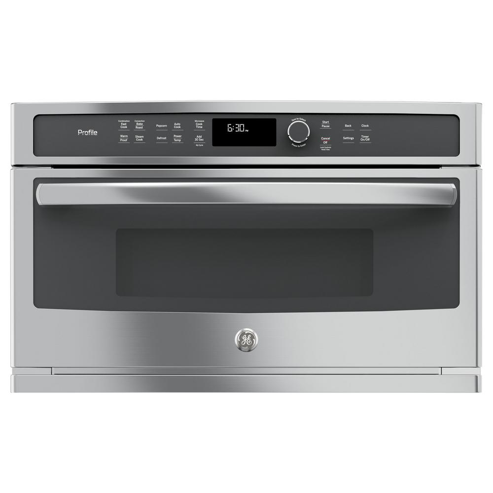 Profile 30 in. Electric Convection Wall Oven with Built-In Microwave in