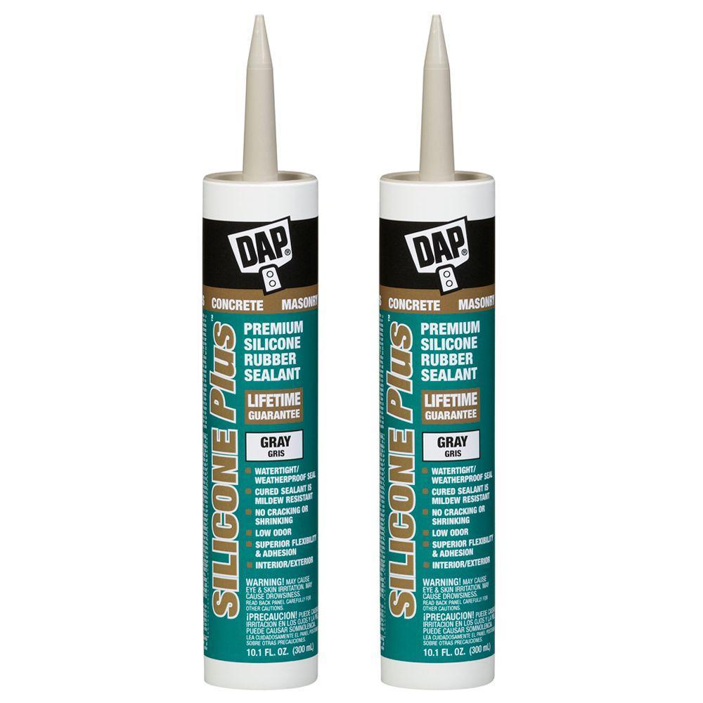 DAP 10.1 oz. Gray Silicone Plus Premium Rubber Concrete and Masonry Sealant (2-Pack)-DISCONTINUED