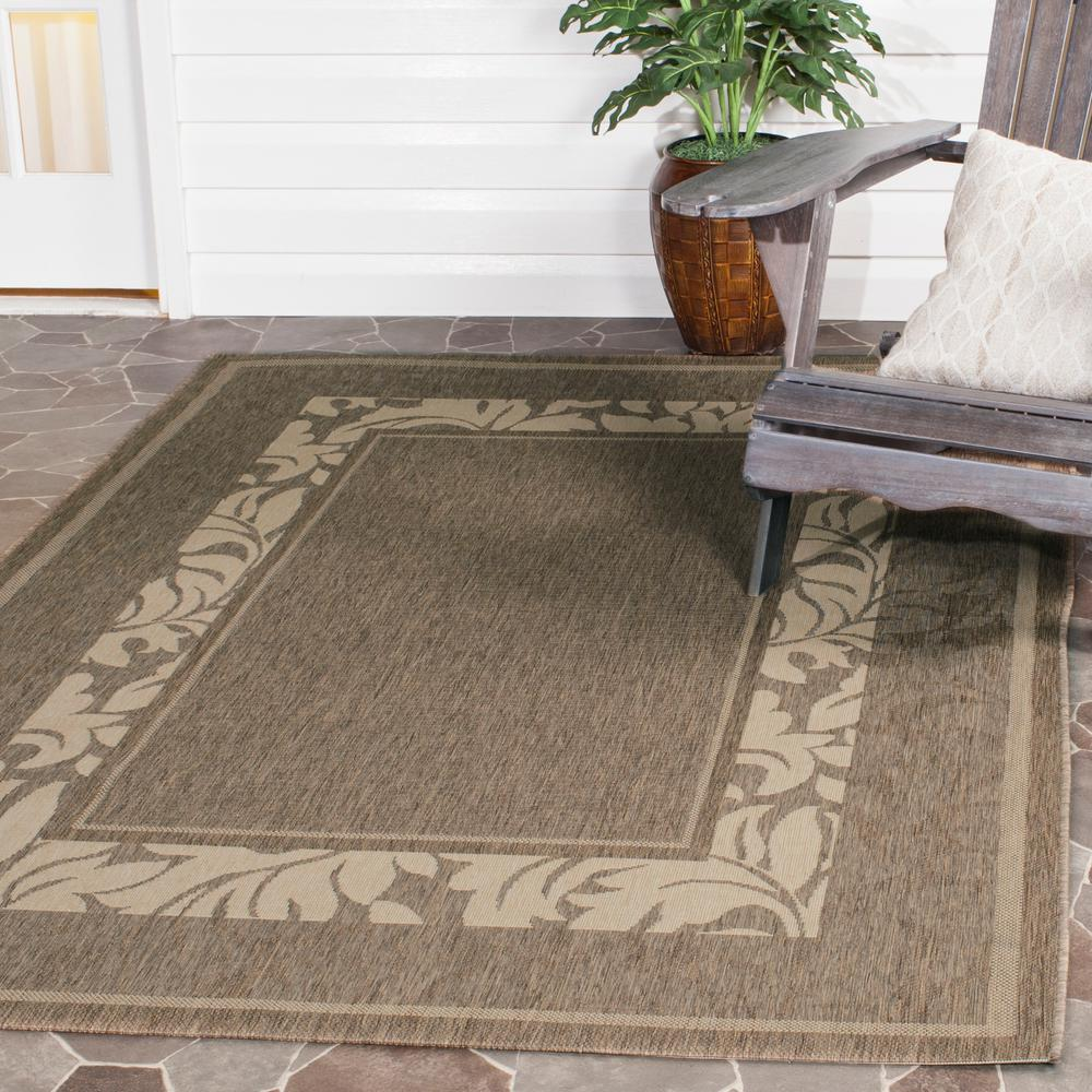 Courtyard Brown/Natural 8 ft. x 11 ft. Indoor/Outdoor Area Rug