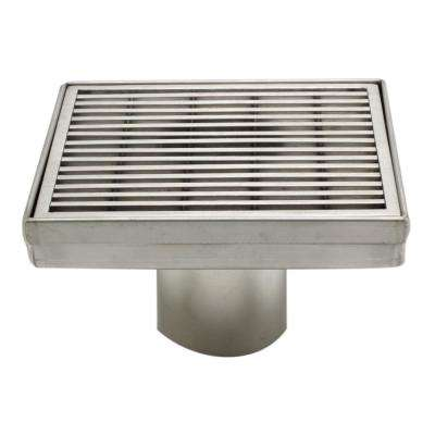 5.25 in. Linear Shower Drain in Brushed Stainless Steel