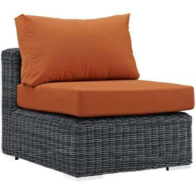 Summon Patio Wicker Sunbrella Armless Middle Outdoor Sectional Chair with Canvas Tuscan Cushions