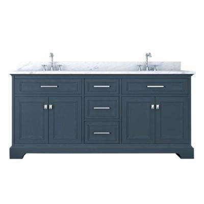 Yorkshire 73 in. W x 22 in. D Double Bath Vanity in Gray with Marble Vanity Top in White with White Basin
