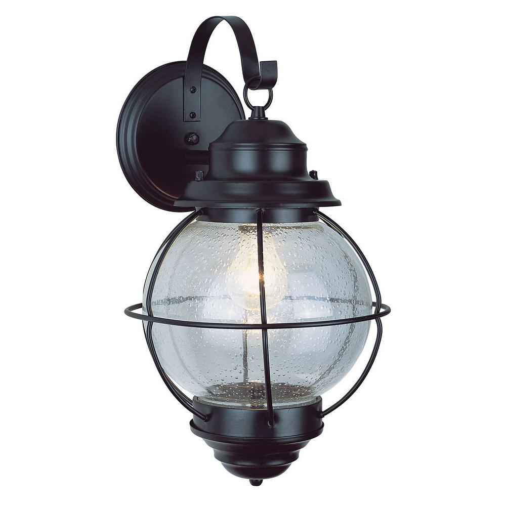 Bel Air Lighting Lighthouse 1 Light Outdoor Rustic Bronze Coach Lantern With Seeded Gl 69900 Rbz The Home Depot