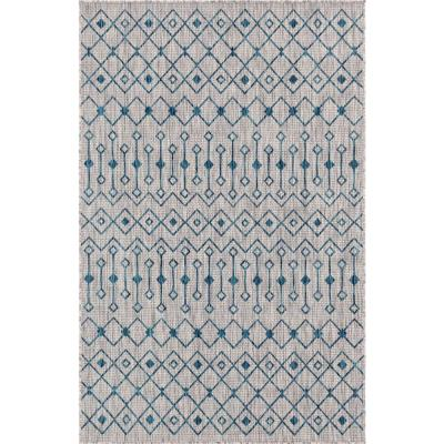 Unique Loom Gray/Teal Tribal Trellis Outdoor 6 ft. x 9 ft. Area Rug, Light Gray