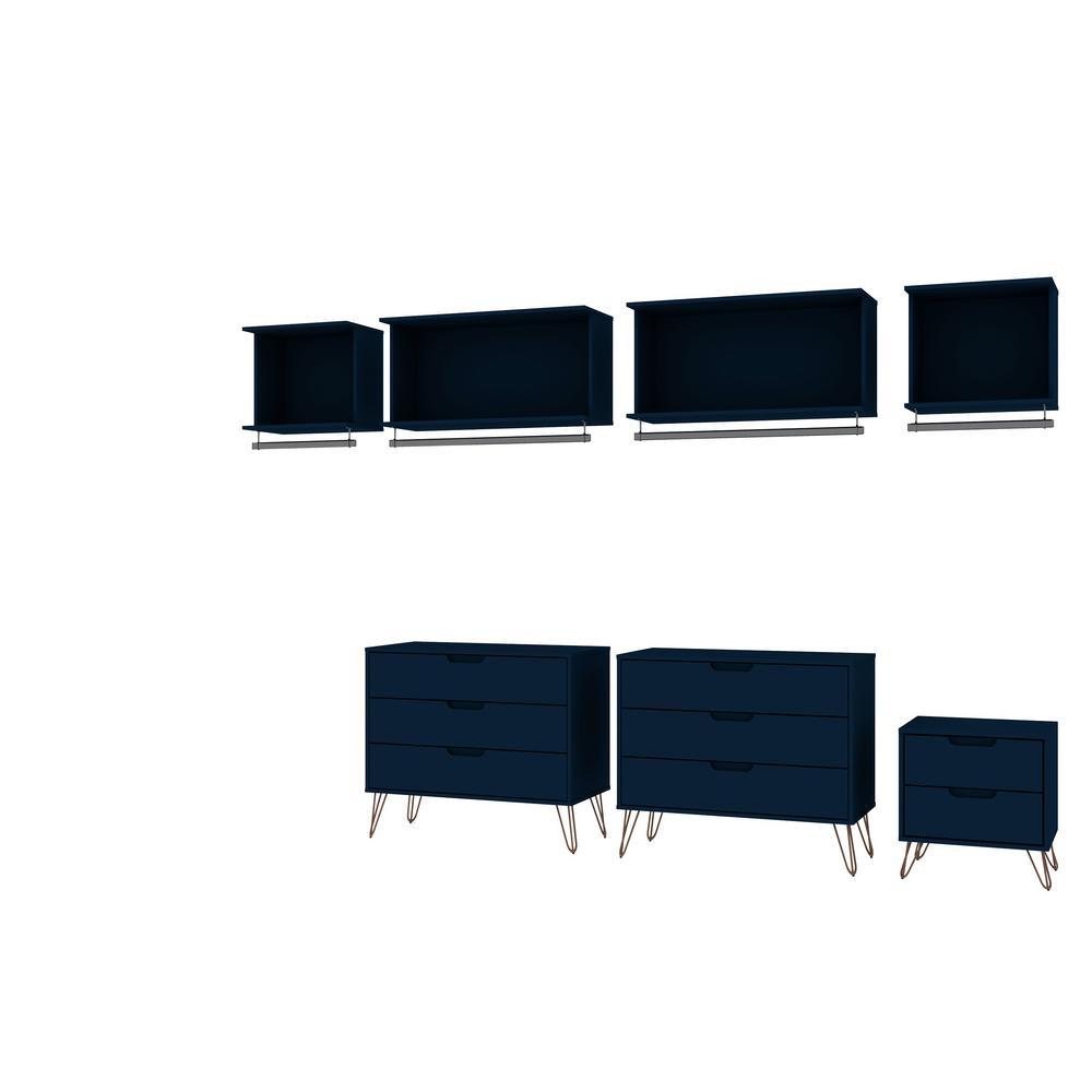 Rockefeller 7-Piece Tatiana Midnight Blue Open Wardrobe Set