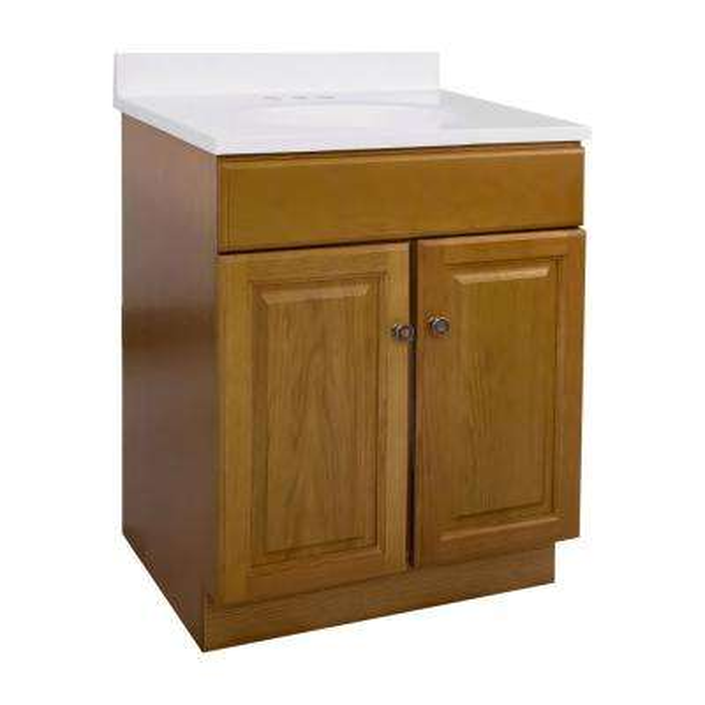 24 in. x 18 in. x 33 in. 2-Door Bath Vanity in Honey Oak with 4 in. Centerset Solid White CM Vanity Top with Basin
