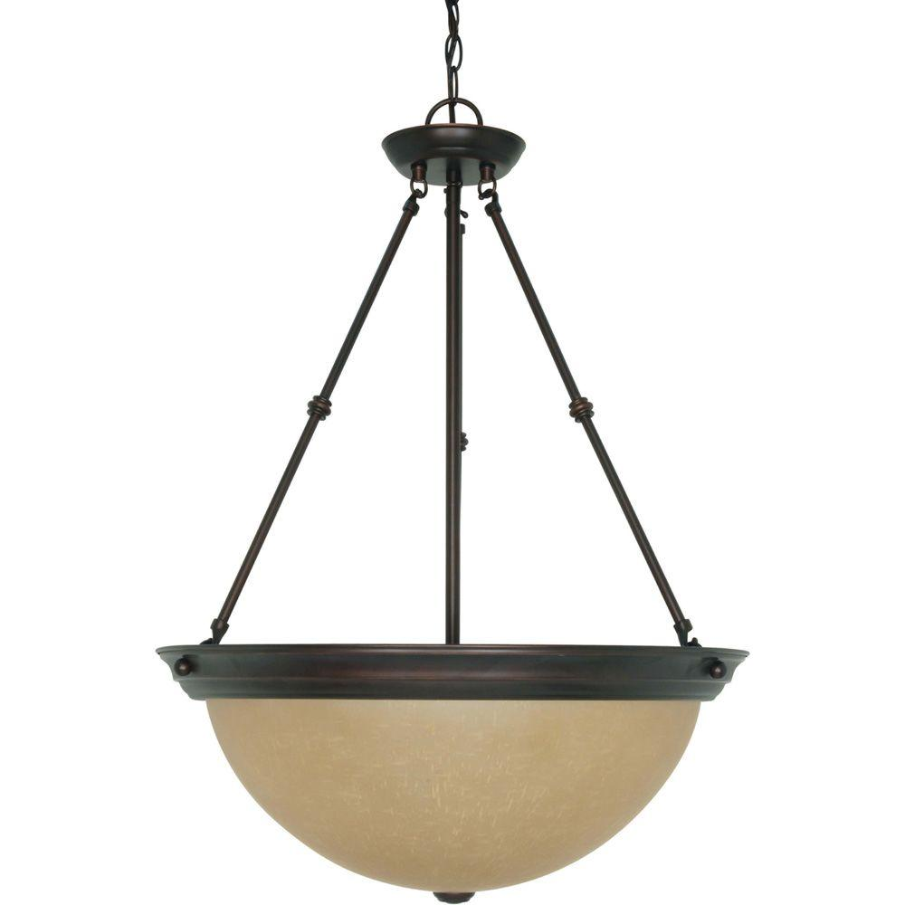 3-Light Mahogany Bronze Large Bowl Pendant