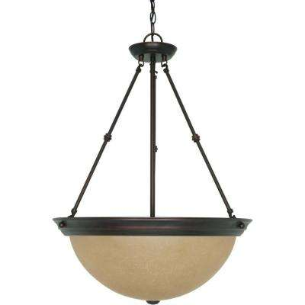 3-Light Mahogany Bronze Large Bowl Pendant