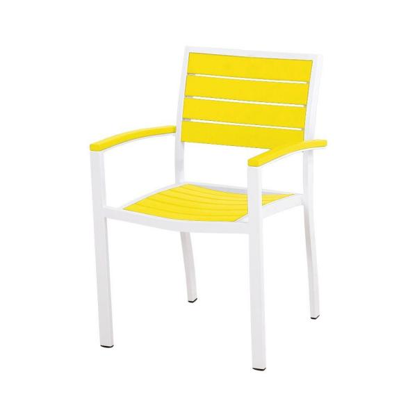 Polywood Euro Satin White Lemon Patio Dining Chair A200 13le The Home Depot