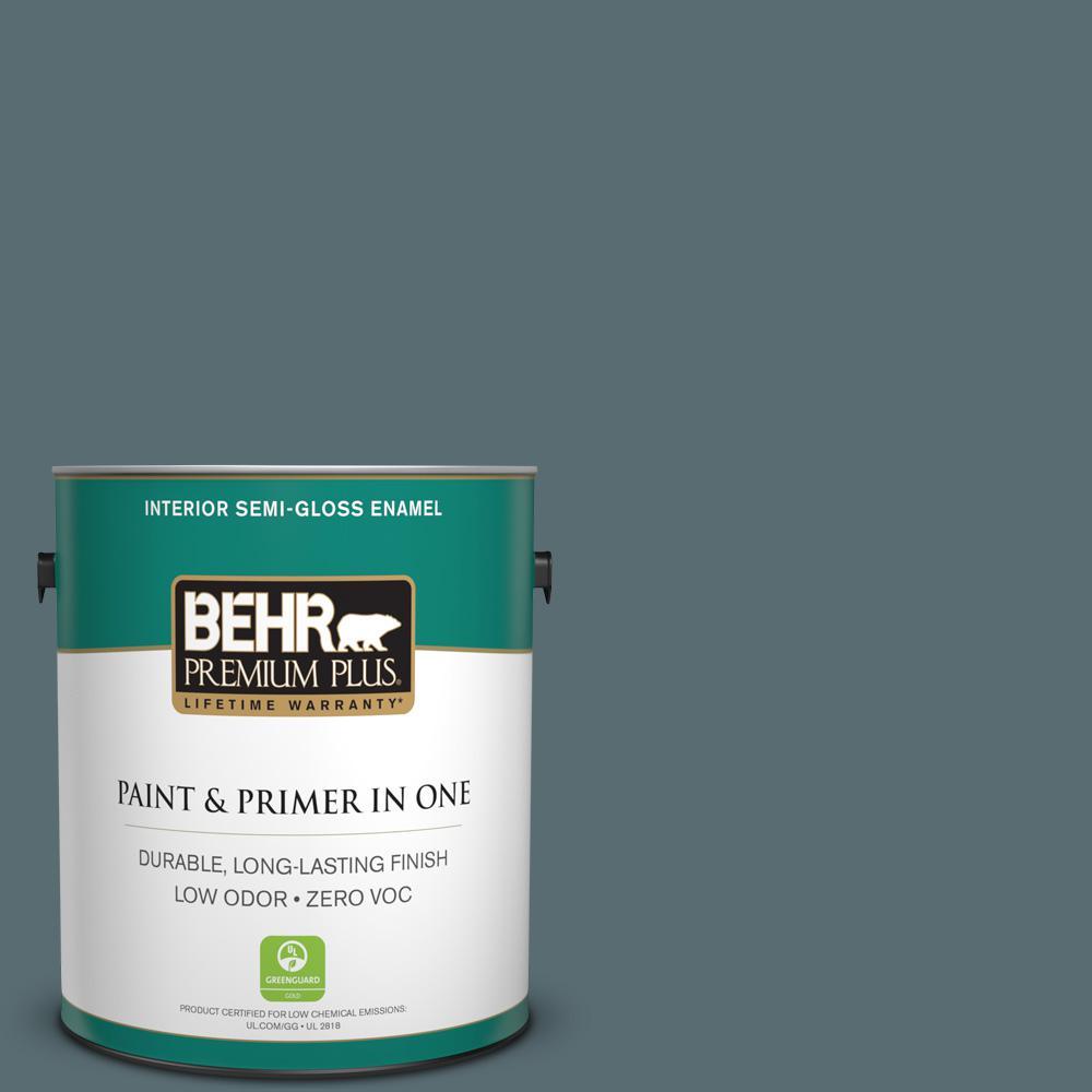 BEHR Premium Plus 1-gal. #ECC-58-3 Unreal Teal Zero VOC Semi-Gloss Enamel Interior Paint