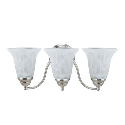 3-Light Brushed Nickel Vanity Light with Faux Alabaster Glass Shade