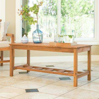 Acacia Wood Ladder Base Patio Coffee Table in Brown