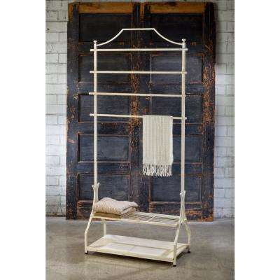 33 in. W x 72 in. H Cream Metal with Wood Veneer Base Garment Rack
