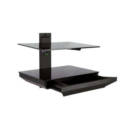 2-Tier AV Component Shelf with Drawer - Black