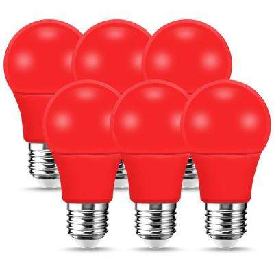 60-Watt Equivalent A19 9-Watt Non-Dimmable Red LED Colored Light Bulb E26 Base (6-Pack)