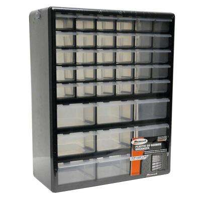 39-Compartment Non Stackable Small Parts Organizer in Black