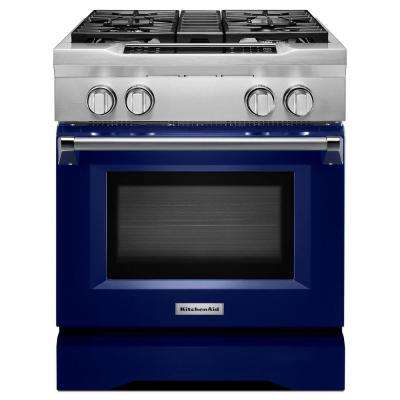 30 in. 4.1 cu. ft. Dual Fuel Range with Convection Oven in Cobalt Blue