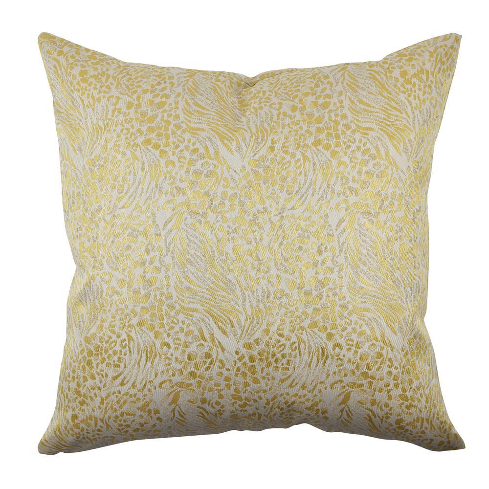 Cream and Gold Animal Print Throw Pillow