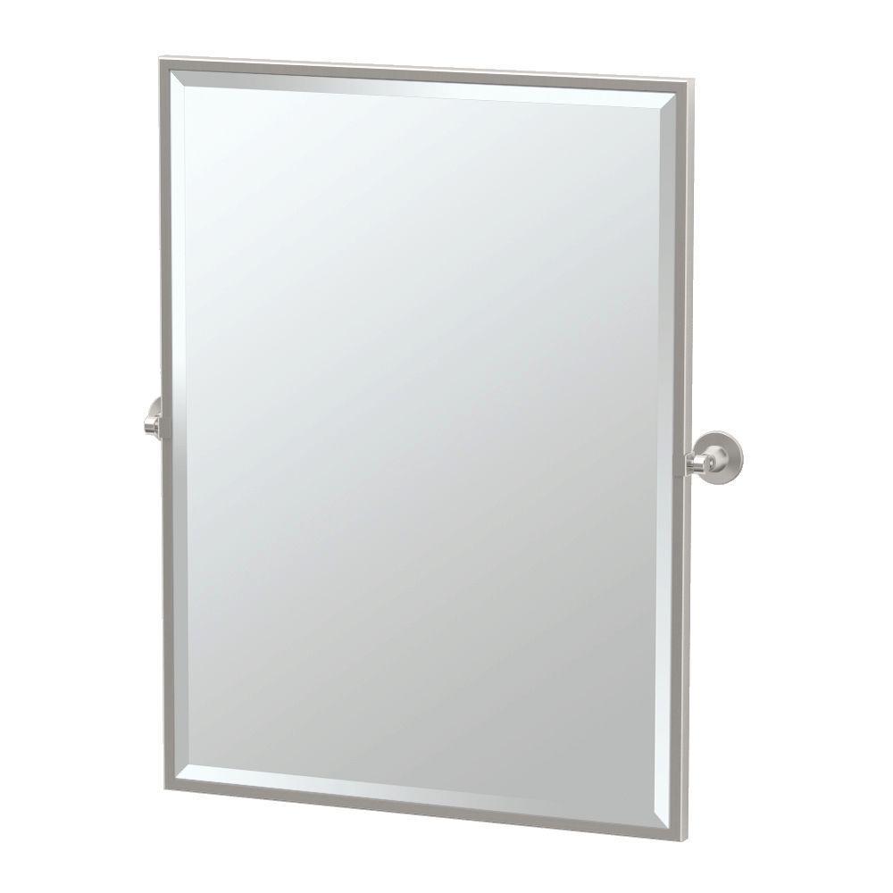 Max 25 in. W x 33 in. H Framed Single Rectangle Mirror in Satin Nickel