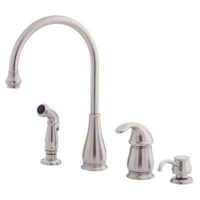 Treviso Single-Handle Side Sprayer Kitchen Faucet and Soap Dispenser in Stainless Steel