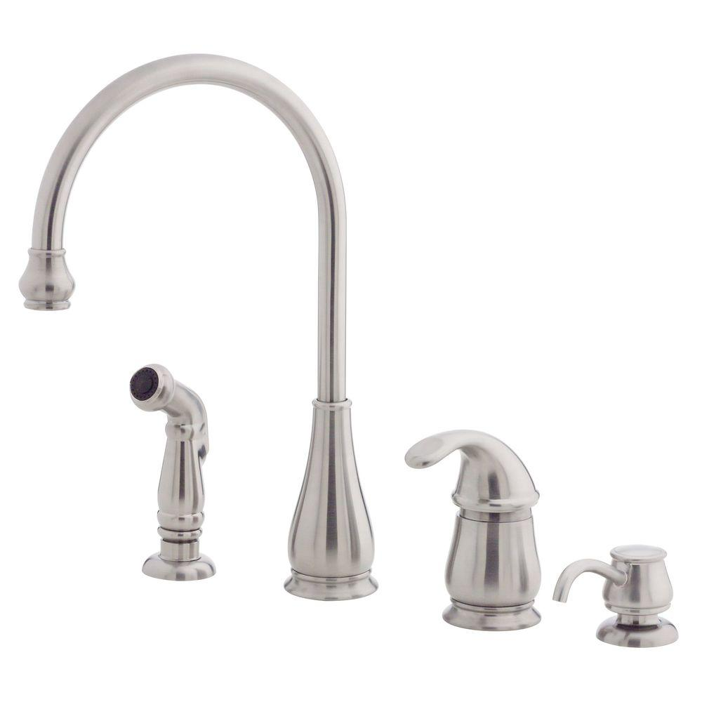 pfister treviso single handle side sprayer kitchen faucet and soap dispenser in stainless steel - Pfister Kitchen Faucet