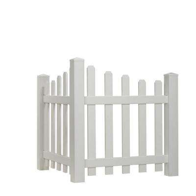 4 ft. H x 3.5 ft. W White Vinyl Dog Ear Scalloped Spaced Picket Corner Accent Fence Panel Kit