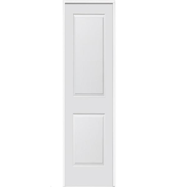 16 in. x 80 in. Smooth Carrara Right-Hand Solid Core Primed Molded Composite Single Prehung Interior Door