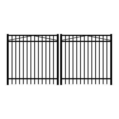 Jefferson 10 ft. W x 5 ft. H Black Aluminum 3-Rail Double Drive Fence Gate