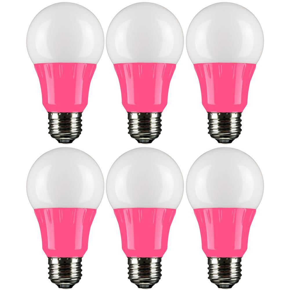 22-Watt Equivalent A19 LED Pink Light Bulbs Medium E26 Base in Pink (6-Pack)