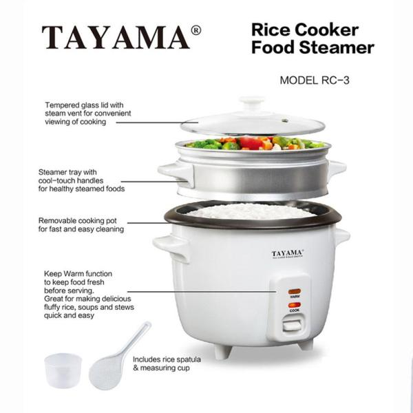 Tayama - 3-Cup White Rice Cooker with Steamer and Glass Lid