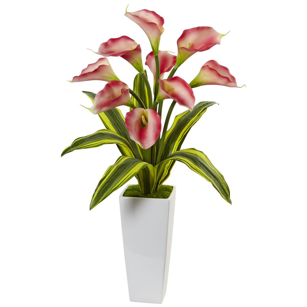 Calla Lilies with Tropical Leaves Silk Arrangement in Pink