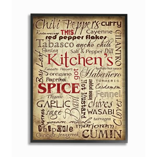 11 In X 14 In Kitchen Spice Typography By Carole Stevens Wood Framed Wall Art