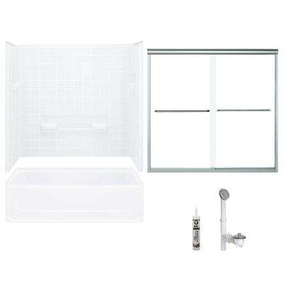 All Pro 30 in. x 60 in. x 72.75 in. Bath and Shower Kit with Right-Hand Drain in White and Chrome