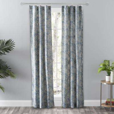 Lexington Leaf Blue Cotton/Polyester Room Darkening Tailored Panel Curtain - 56 in. W x 84 in. L