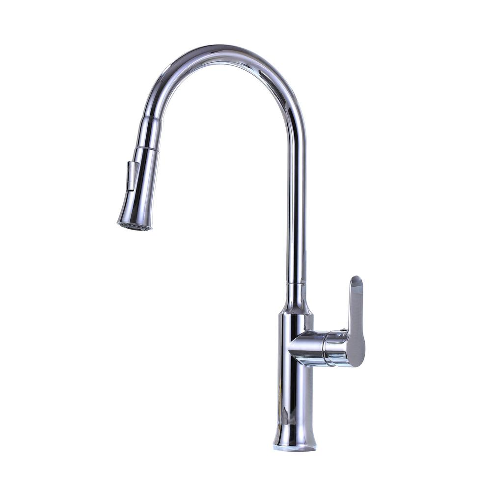 Vanity Art 8.27 in. Single-Handle Pull-Down Sprayer Kitchen Faucet in Chrome, Polished Chrome was $113.0 now $79.1 (30.0% off)
