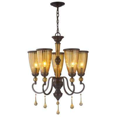 5-Light Oil-Rubbed Bronze Chandelier with Crystal Adorned Tea Stained Glass Shade