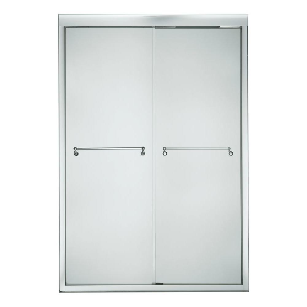 KOHLER Portrait 70-5/16 in. x 56-5/8 - 59-5/8 in. Frameless Bypass Shower Door in Bright Polished Silver-DISCONTINUED
