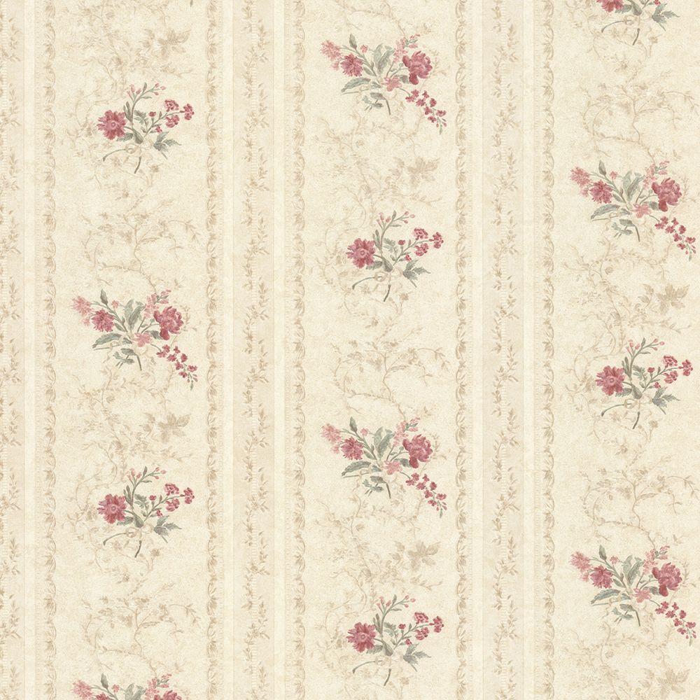 Mirage Maury Beige Floral Bouquet Stripe Wallpaper 992 68334 The