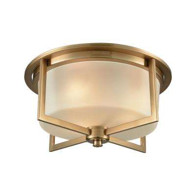 Vancourt 3-Light Satin Brass with Frosted Glass Flushmount