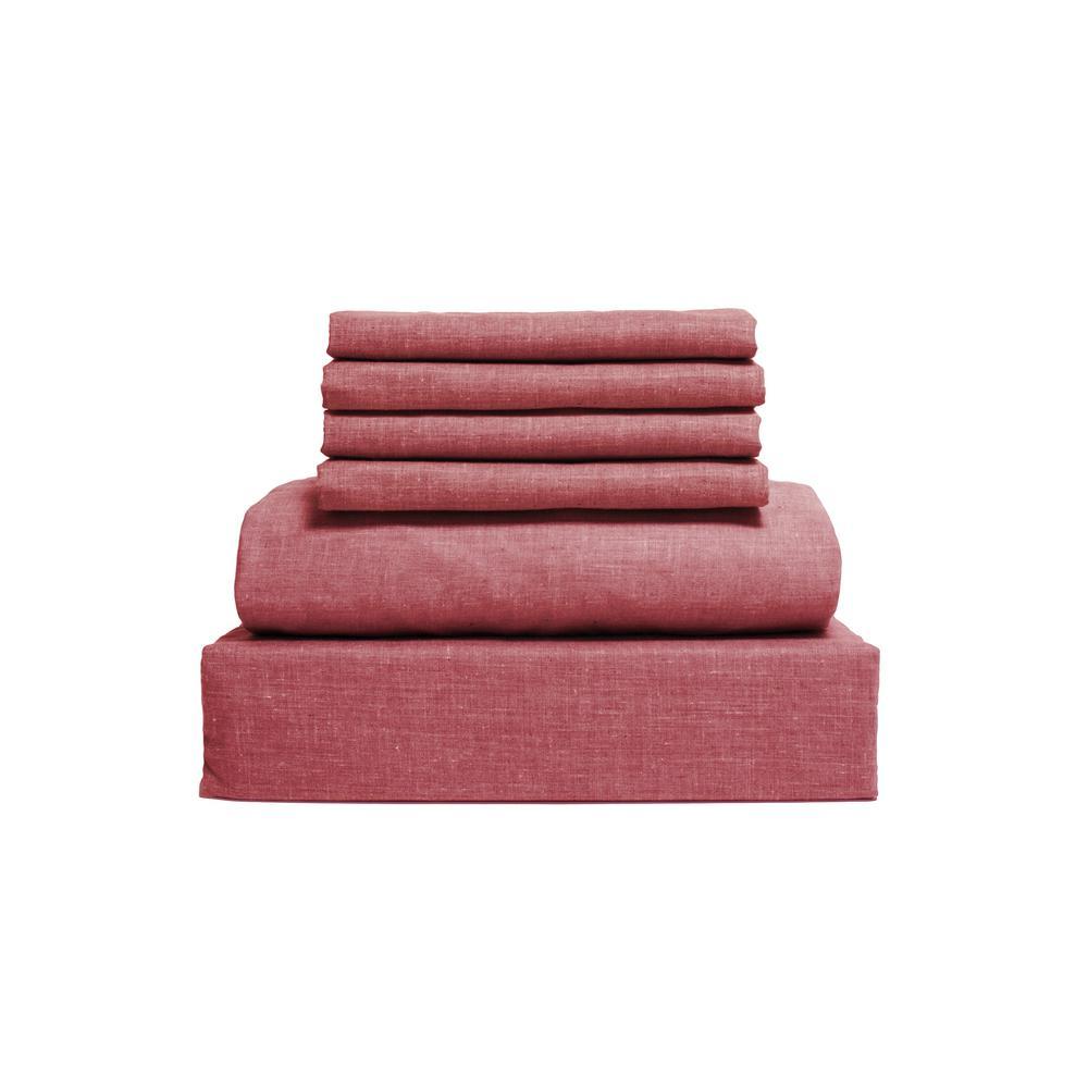 Lintex Chambray 6-Piece Red Cotton/Polyester Queen Sheet Set 435669