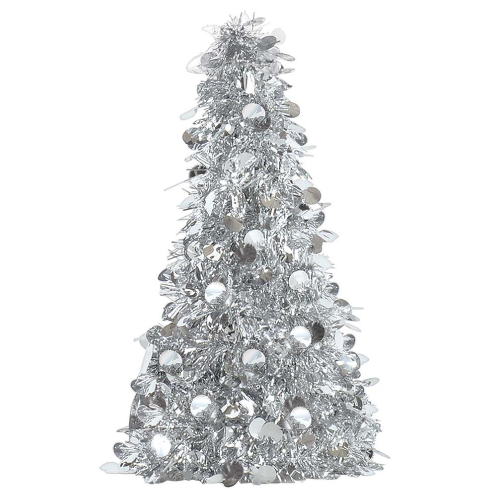Amscan 10 in. Silver Tinsel Tree Centerpiece (6-Pack)-240595 - The ...