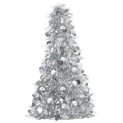 10 in. Silver Tinsel Tree Centerpiece (6-Pack)