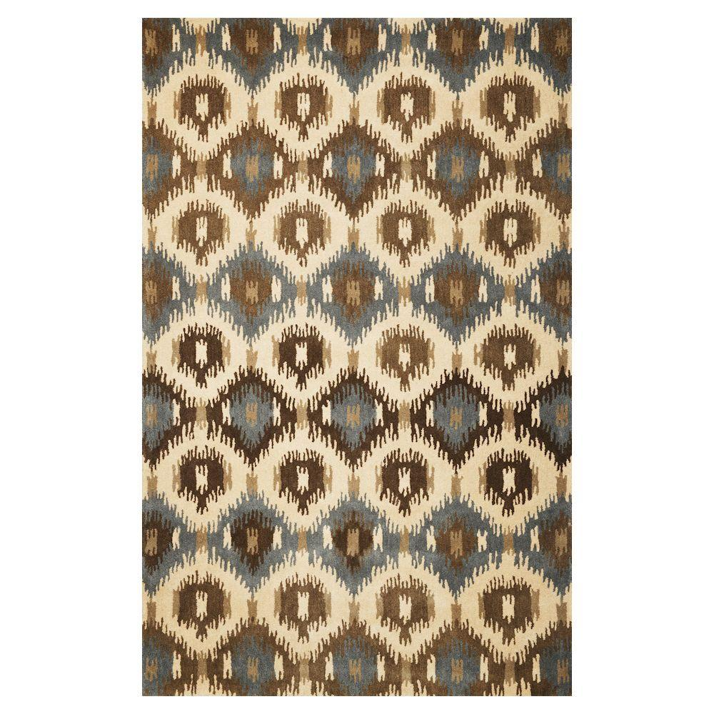 KAS Ikat Block Ivory 8 ft. x 10 ft. 6 in. Area Rug