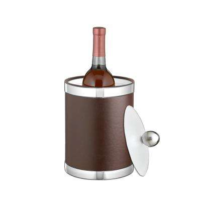 Sophisticates 2 Qt. Brown and Polished Chrome Tall Ice Bucket with Lucite Lid