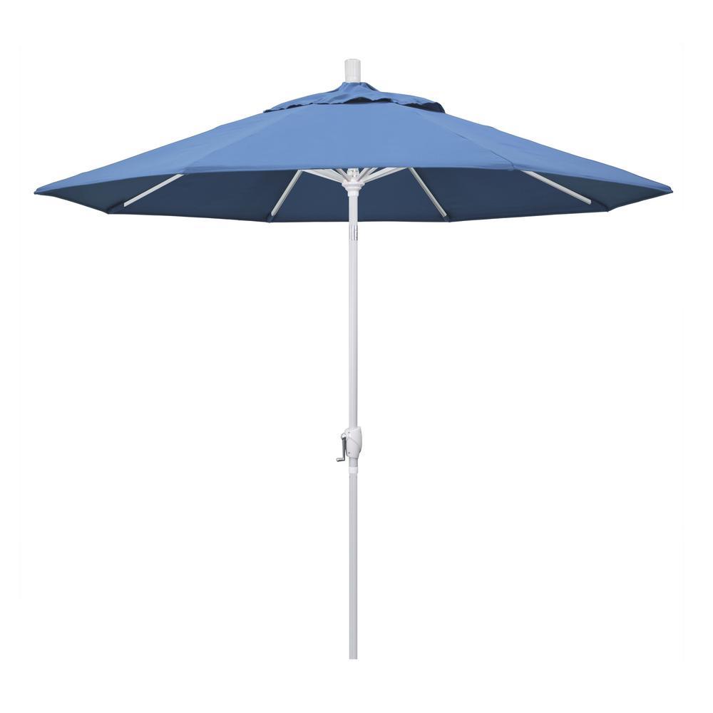 9 ft. Aluminum Market Push Tilt - M White Patio Umbrella in Frost Blue Olefin