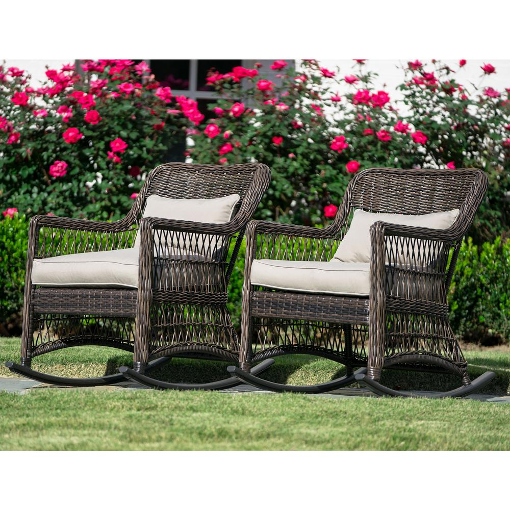 Leisure Made Pearson Dark Brown Wicker Outdoor Rocking Chair With Tan Cushions 2 Pack